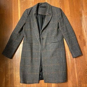 Zara Woman Wool Plaid Coat - Size S